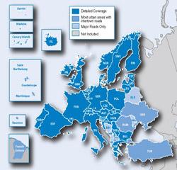 نقشه اروپا برای جی پی اس گارمین